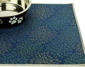 Dog Food Mat, Choose Your Size, Waterproof Dog Placemat, Cat Food Mat, Pet Placemat, Non Skid Mat, Non Slip Mat, Cat Litter, Blue Starburst