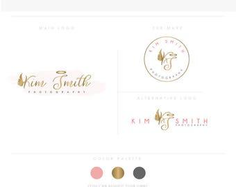Lovely Angel, Feminine Logo, Watercolor, Branding, Photography, gold monogram,  initials letters script, makeup artist logo, wings logo
