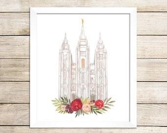 Salt Lake City LDS Temple Watercolor Print, Temple Art