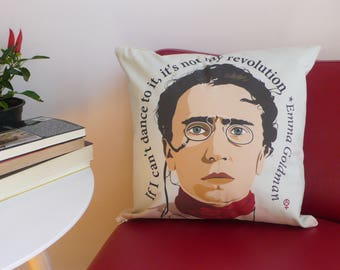 Emma Goldman Pillow Cover. Organic Cotton Pillow. Cushion. Feminist gift. Feminist quotes. Anarchist gift. Insert not included.