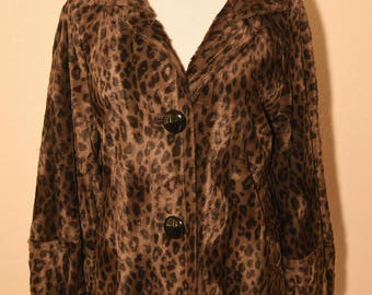 Retro Charles Gray London faux Leopard Jacket - Size M