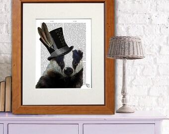 Badger Art Print - Steampunk Badger Top Hat - badger print funny home décor Country house decor Woodland Nursery décor Woodland Critter Art