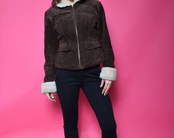 Vintage 90's Fur Suede Brown Jacket / Brown Real Suede Winter Jacket - Size Small
