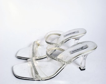 Vintage 90's Silver Sequin Sandal Shoes with Clear Plastic Heels / Clear Heel Sandals
