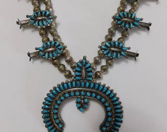 Vintage Zuni Petit Point Turquoise Sterling Silver Squash Blossom Necklace Maryann and Felix Chavez On Sale For Two Weeks