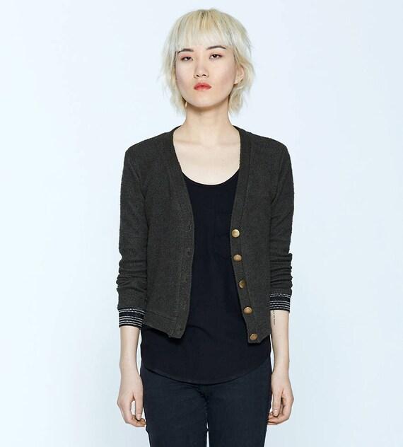 JASPER - long sleeves knit buttoned cardigan, blazer, vest, cover-up for womens - green khaki