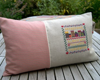 Pillow 'Houses with alphabet' cross stitch