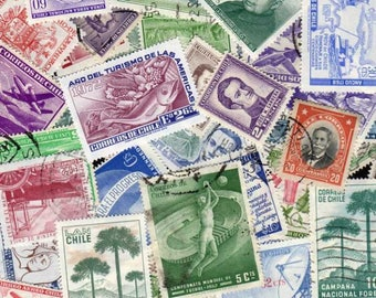 Chile Stamps, 50 Diff, Chile Postage Stamps, Chilean Postage stamps, South American Stamps, Stamp Collection, Stamps, Postage Stamps,Stamps