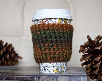 Autumn Cable Coffee Cozy/ Tea Cozy/ Cup Cozy/ Coffee Cover/ Coffee Sleeve/ Latte Cozy