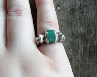 Mexican Silver Malachite Mod Modernist Taxco Ring - Size 7