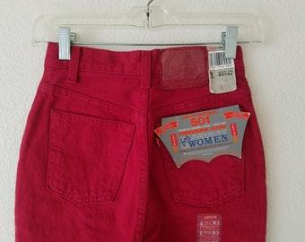 Levis 501 Original Red Denim Jeans Women Size 3 USA 25x31 Button Fly 80s Deadstock