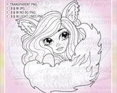 Shy Fox Girl UNCOLORED Digital Stamp Image Adult Coloring Page jpeg png jpg Craft Cardmaking Papercrafting DIY