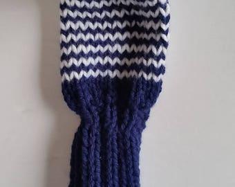 GOLF CLUB HEAD-Cover, Retro Hand Knit with Pom Pom Custom Colors, pom poms for No. 7 woods, fairway golf clubs
