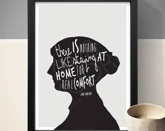 Jane Austen Quote Print, Inspirational Quote, Quote Print