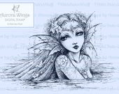 Digital Stamp Download - Siren - Mysterious Mermaid Line Art for Arts and Crafts - by Mitzi Sato-Wiuff - AuroraWings