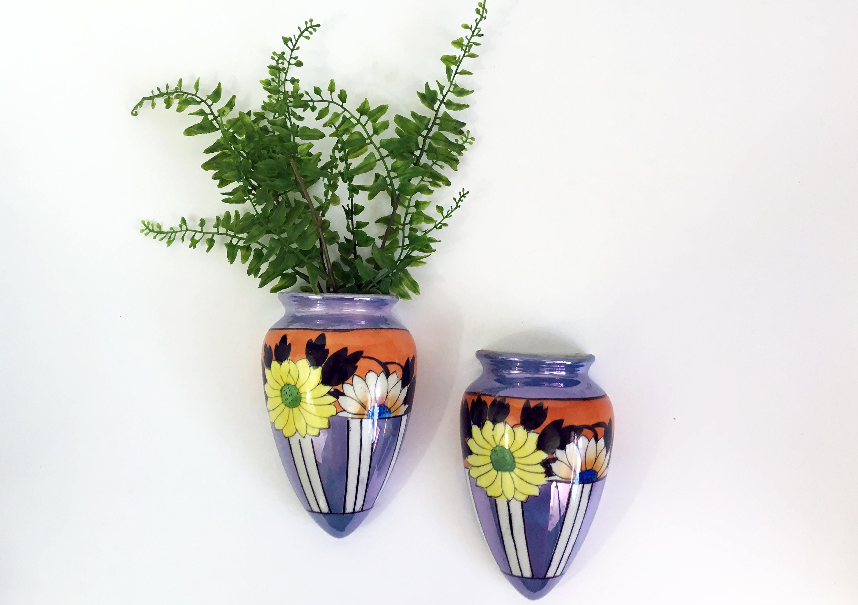 Vintage pair lusterware pocket vases 2 ceramic wall pocket vases vintage pair lusterware pocket vases 2 ceramic wall pocket vases hand painted japan wall vases floral mid century home decor reviewsmspy