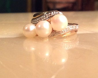 14K Yellow Gold, Freshwater Pearl and Diamond Statement Ring