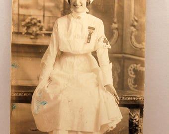 Antique Real Photo Postcard Nurse in Uniform World War I Era
