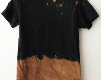 Tee shirt, Acid wash Tee Shirt, Tie dye, Black shirt,Grunge, rocker, retro, hipster, boho, ombre, wearable art, Shop Small, Gift under 15