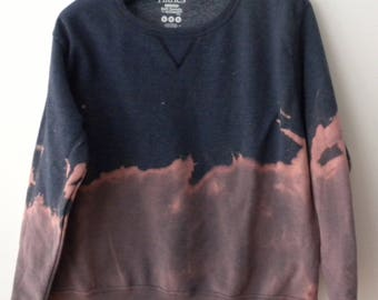 Women Sweatshirt, Blue Sweatshirt, Pink, sweater, ombre, dip dye, crewneck sweatshirt, Boho chic, acid wash, tie dye