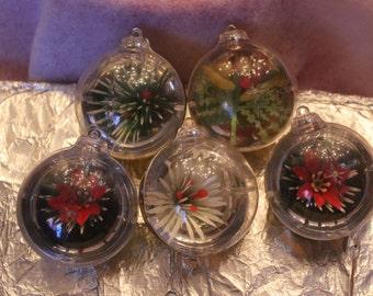 5 Vintage plastic UNBREAKABLE JewelBrite Diorama Christmas Ornaments diorama scene Poinsettia Fruit IOB