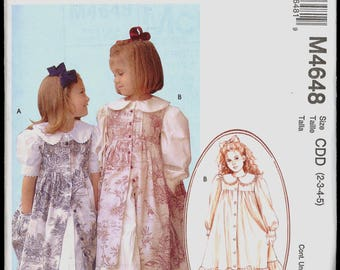 Uncut Size 2 3 4 5 Ruffles and Lace Girls Dress Pinafore McCalls 4648 Sewing Pattern