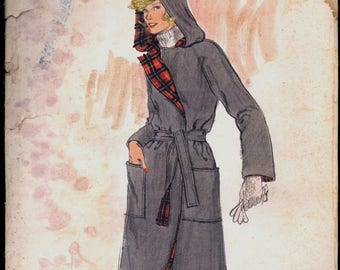 1970s Size 14 Bust 36 Wrap Coat Hood Vogue 9312 Vintage Sewing Pattern 70s Unconstructed
