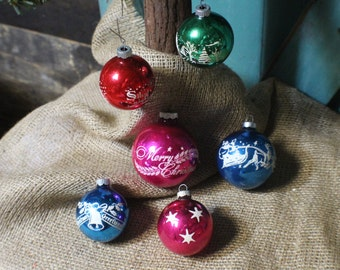 Vintage Shiny Brite Ornaments, Vintage Mercury Glass Ornaments with Stencil
