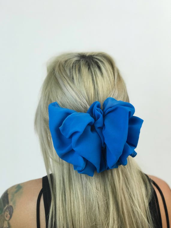 90's Sky Blue Giant Bow Clip - Large Blue Bow French Clip Hair Barrette - Basic Statement Hair Clip Hipster Nineties Accessory BIG Big Bow