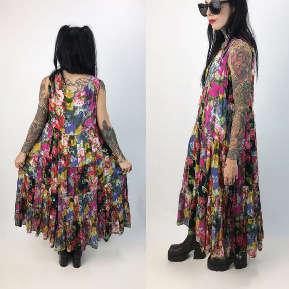 90's Floral Patchwork Sleeveless Maxi Tent Dress Medium - Bright Floral Tiered Colorful Vintage Bohemian Flowy Floral Cotton Sundress