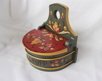 Wonderful Norwegian Rosemaling on a Unique Storage Box With Lift Up Lid