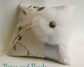 """Ivory and Silver Ring Bearer Pillow, Grey, Pale Blue Embroidered Floral Motif, Linen, Satin, Tulle, Wedding Ring Cushion, """"Luxe"""""""