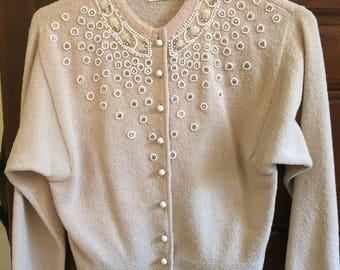 Vintage Kim's KnitWear Cardigan/Vintage Kim's Beaded Knitwear Cardigan/1950's cardigan/SockHop Sweater