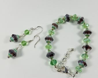 Purple and green bracelet and earring set