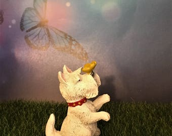 Miniature Dog Figurine with Butterfly, Fairy Garden Miniature