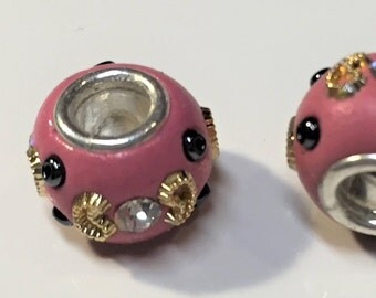 CLEARANCE:  2 Pink Gold Resin Crystal Rondelles, Dione, 5mm round, large hole slider bead