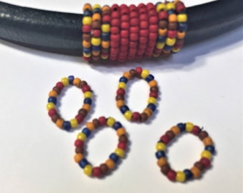 2 Licorice Leather Single Strand Confetti Handmade Beaded Sliders, Licorice finding, Jewelry supplies, leather braclet