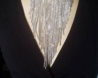 Silver Crystal Rhinestone Cascade Choker Necklace