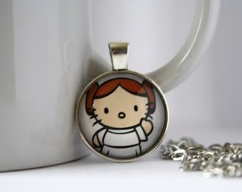"Hello Kitty Star Wars Princess Leia Necklace Pendant or Keychain 1"""