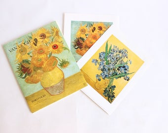 Vintage Van Gogh Prints Artwork Flowers Blue Yellow Orange Sunflowers Boho Home Decor