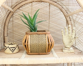Vintage Planter Pot Wooden Planter w/ Rattan Accents Basket Planter Small Succulent Planter Pot