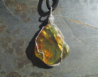 Amber Pendant, Sterling Silver Wire Wrapped Natural Amber Polished Stone from Chiapas Mexico, Healing Stone Necklace