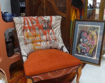 Mid Century Reupholstered and Upscaled Orange Wingback Chair