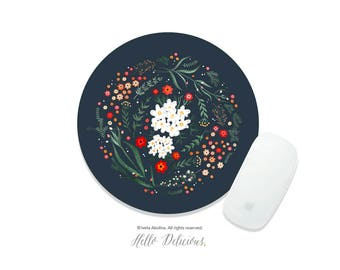 Floral Mousepad Summer Garden Mousepad Floral Mouse Pad Flower Mousepad Wreath Mousepad Office Mousemat Rectangular Rose Mousepad Round 98.