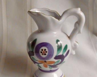 Hand Painted Cream  Pitcher / Vase  National Silver Company Nagoya Japan Vintage