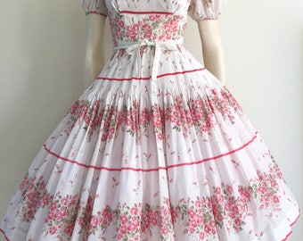 STUNNING Romantic 50s 60s Pink Floral Border Print Party Dress / Full Skirt / Small  / Garden Party