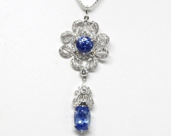 Natural Sapphire and Diamond Necklace Vintage Art Deco Great Gatsby