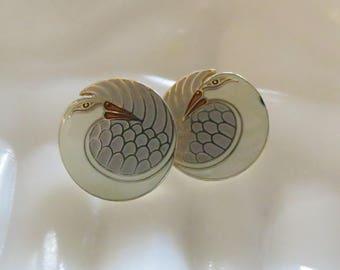 Laurel Burch Earrings Mynah Bird Signed Costume Jewelry Studs Pierced White Gray Tropical Birds Cloisonne Enamel