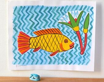 Original illustration: fish, ancient Egypt