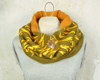 Large Scarf, Button Neck Warmer, Floral Print Loop Scarf, Vintage Fabric Cowl, Khaki / Orange, Ecofriendly multi-positions, Gender Neutral